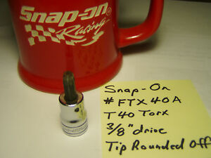 Snap On Ftx40a 3 8 Drive Torx T40 Standard Socket Bit Rounded Off Tip