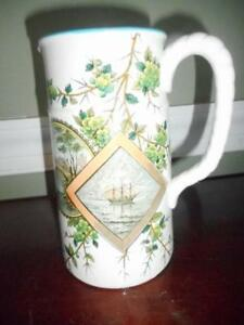 Old Hall Earthenware Co England Victorian 1880s Baltimore Pattern 7 3 8 Pitcher