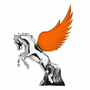 Hood Ornament Flying Stallion Chrome W Amber Windrider Wings Peterbilt Kw Fl
