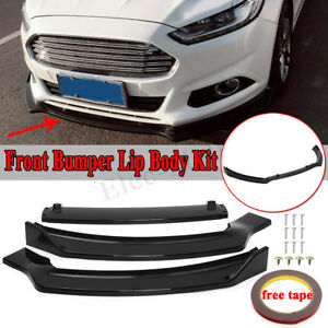 For 2013 2016 Ford Fusion Mondeo Glossy Black Front Bumper Chin Spoiler Lip 3pcs