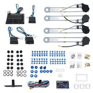 Roll Up 4 Door Electric Power Window Motor Conversion Kits Switches Car Truck Us