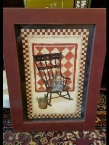 Primitive Wooden Framed Picture Windsor Rocking Chair Baby Doll Wall Art 14 5