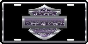 Harley Davidson Bar Shield Purple Filigree Metal License Plate