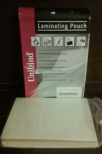 100 Unibind Thermal Laminating Sheets Pouches Letter Size Sticky Back