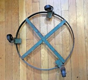 Vintage Drum Barrel Cart 3 Caster Wheel Dolly truck Metal Iron Rustic