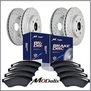 Front rear Kit Drilled Slotted Brake Rotors Ceramic Pads Chevy Escalade Yukon