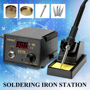 937d Smd Digital Soldering Rework Iron Station Adjustable 4 Tip Welding Tool