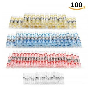 100x Solder Seal Heat Shrink Butt Wire Connectors Waterproof Terminals Seal Set