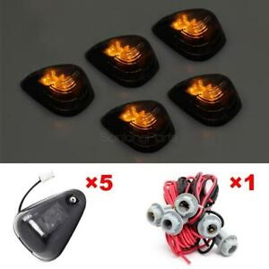 5x Smoke Cab Marker Roof Running Light Amber Led t10 Harness For Ford Super Duty