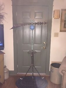 Antique Lightning Rod Weathervane With Blue Glass Ball And Stand 68 Tall
