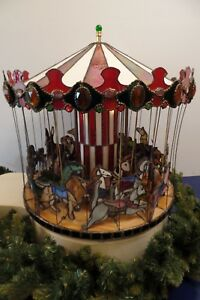 Vintage Stained Glass Carnival Carousel Animals Hand Made 21 Wide X 23 Tall