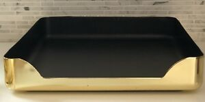 Vintage Mid Century Desk Tray Brass Gold Black Office Organizer In out Box 1