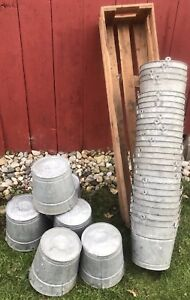 34 Antique Vtg 10 Tall Tapered Galvanized Sap Buckets Original Maple Syrup Farm