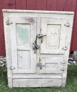 Antique Early 1900s Oak 3 Door Ice Box Refrigerator Freezer Tin Lined Cabinet