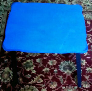 Small Primitive Handmade Blue And Black Farmhouse Style Side Table 18 Tall