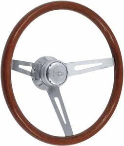 1957 1969 Light Wood Steering Wheel Kit Polished Hub With Chevrolet Bowtie