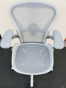 New Herman Miller Remastered Aeron Very Rare Mineral White Fully Loaded Size B