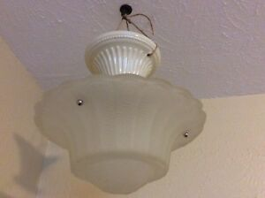 Antique Vintage Frosted Glass Art Deco Slip Shade Light Ceiling Fixture