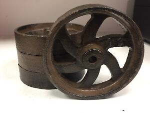 Lot Of 4 Cast Iron 6 Spoke Wheels 4 5 Cart Industrial A6 Antique Style