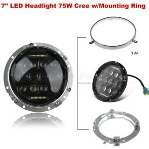 1pair Combo For Harley Touring Led 7 Cree 75w Headlight W mounting Ring Bracket