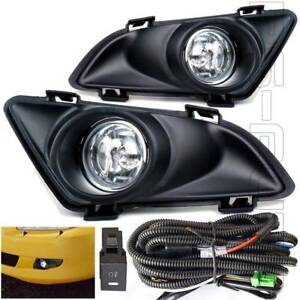 Fit 03 05 Mazda6 Clear Lens Front Bumper Fog Light Assembly W bezel Relay Wiring