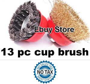 13pc 3 Arbor Fine Crimp 4 Knot Wire 13 Cup Brush Twist For Angle Grinder