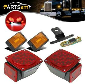 Led Trailer Light Kit 2 Stop tail turn Signal Lights amber Side Marker 25ft Wire