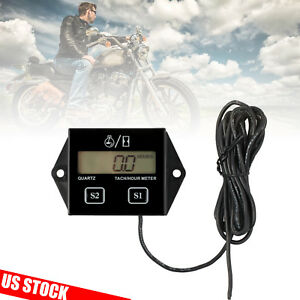 Lcd Digital Tach Hour Meter Engine Tachometer Gauge For Motorcycle Racing Us