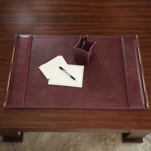 Burgundy Leather Classic Desk Blotter Pad Flap Brass Ranch Retro Traditional