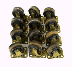 Vtg Lot Of 12 Brass Metal Caster Wheels Rollers Swivel Salvage Furniture 1 5