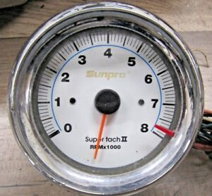 Vintage Chrome Sun Super Tach Ii 8000 Rpm Tachometer Mounting Cup Wires