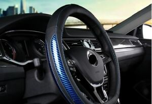 38cm Type D Bk Pu Leather Blue Line Blu 5d Carbon Fiber Car Steering Wheel Cover