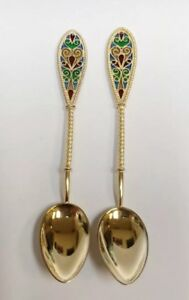 2 Vintage Plique A Jour Jgk Sterling Silver Stained Glass Demitasse Spoons