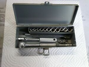 Wright 1 4in Drive Sae Ratchet socket Set 16 Pieces W Storage Box Made In Usa