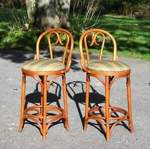 Set Of 2 Vintage Romanian Bentwood Bar Stools Counter Chairs
