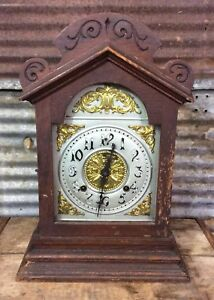 Antique Vtg Ansonia Carved Rockwood Model 8 Day Time Strike Mantel Clock Parts