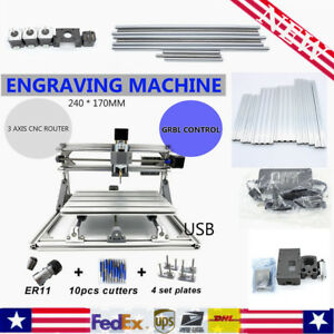 Cnc 2417 Mini Mill Router Kit Usb Desktop Metal Engraver Pcb Milling Machine Diy