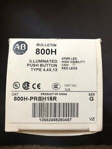 Allen Bradley 800h prbh16r Red Ill Push Button Led