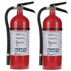Kidde 2 pack Fire Extinguisher Pro 210 2a 10 b c Mounting Bracket Rechargeable