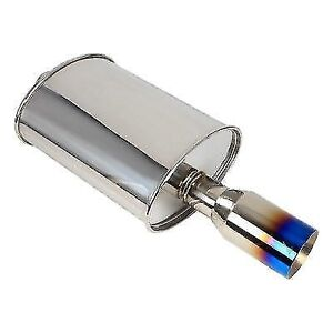 Dc Sports Dcm4000 Oval Canister Muffler W 4 Straight Blue Tip