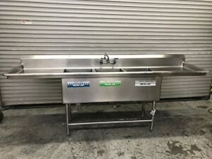 103 3 Compartment Stainless Steel Sink 16x20 Tubs Drainboards 9067 Nsf Dish