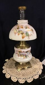 Antique Victorian 1890 S Oil Kerosene Banquet Table Lamp W Dome Shade