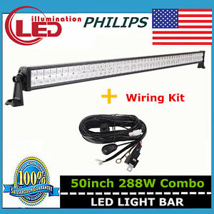 50inch 288w Philips Led Light Bar Combo Off Road 4wd Suv Ute Jeep Ford Wires 48