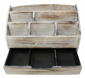 Wooden Desk Organizer 6 Compartment Vintage Rustic Mails Supplies Sorter New