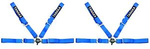 2 X Tanaka Blue 4 point Camlock Racing Harness Seat Belt W Free Shoulder Strap