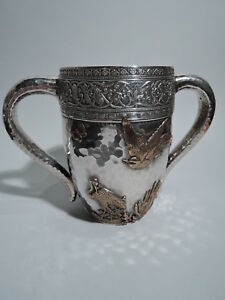 Gorham Cup 15 Antique Japonesque American Mixed Metal Sterling Silver