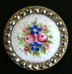 Sparkling Antique Champleve Enamel Button Flowers With Cut Steel Border G130