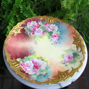 Lovely Large Antique Limoges Charger Plate With Roses Signed Nerone
