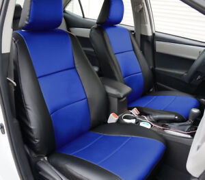 Toyota Corolla Le 2014 2019 Black Blue S Leather Custom Fit Front Seat Covers