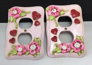 Vtg Outlet Plug Cover Plate 1970 S Mod Flower Power Pink Flowers Heart 3d Raised